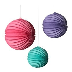 UDDIG hanging ornaments, set of 3, assorted bright colors