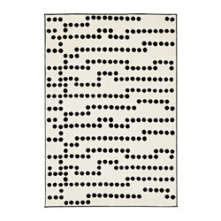 AVSIKTLIG rug, low pile, white/black