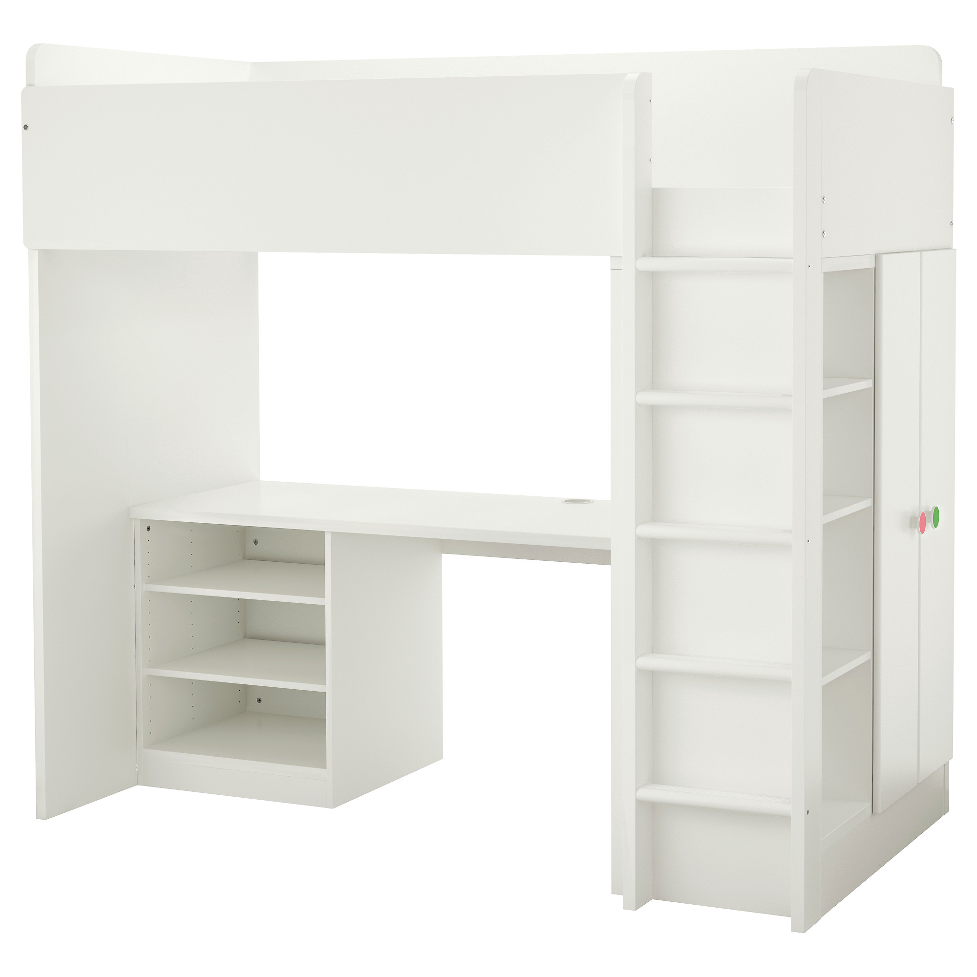 White bunk beds with desk - Stuva F Lja Loft Bed With 2 Shelves 2 Doors White Height 76