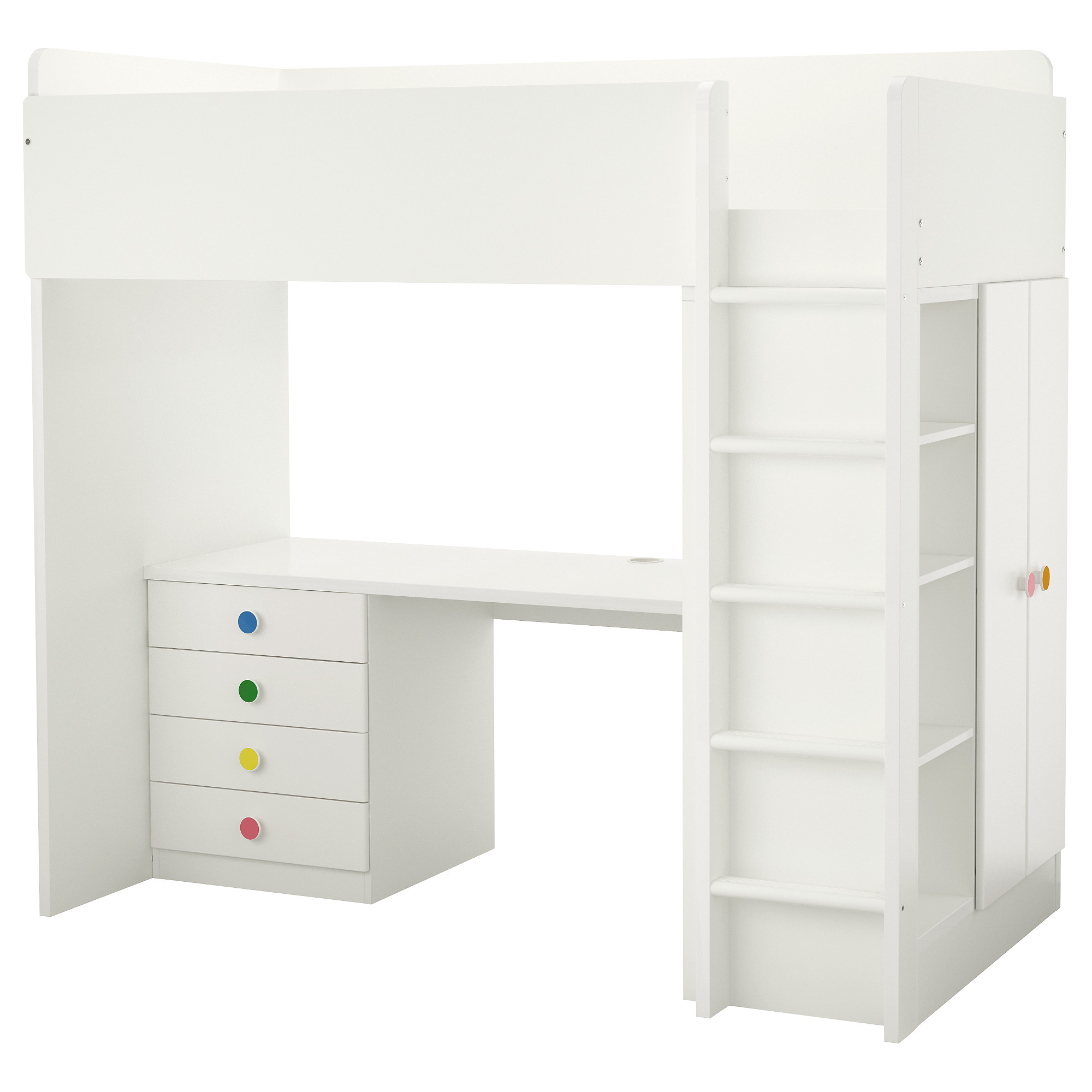 STUVA / FLJA loft bed with 4 drawers/2 doors, white Height: 76