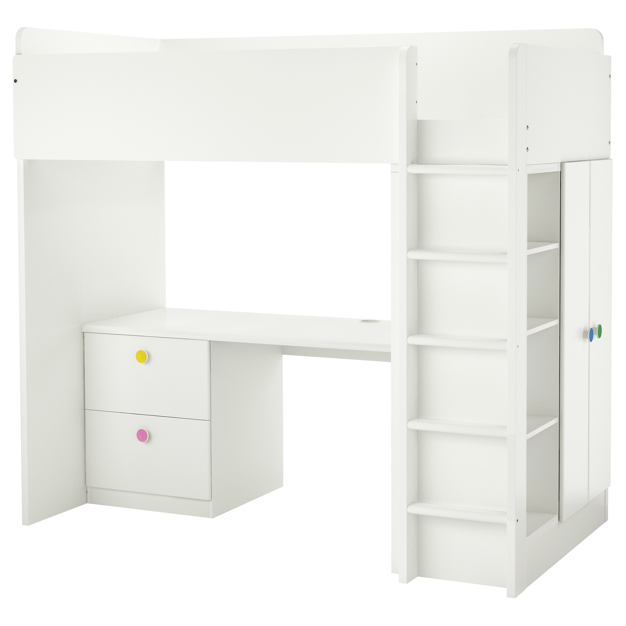 White bunk beds with desk - Stuva F Lja Loft Bed With 2 Drawers 2 Doors White Height 76