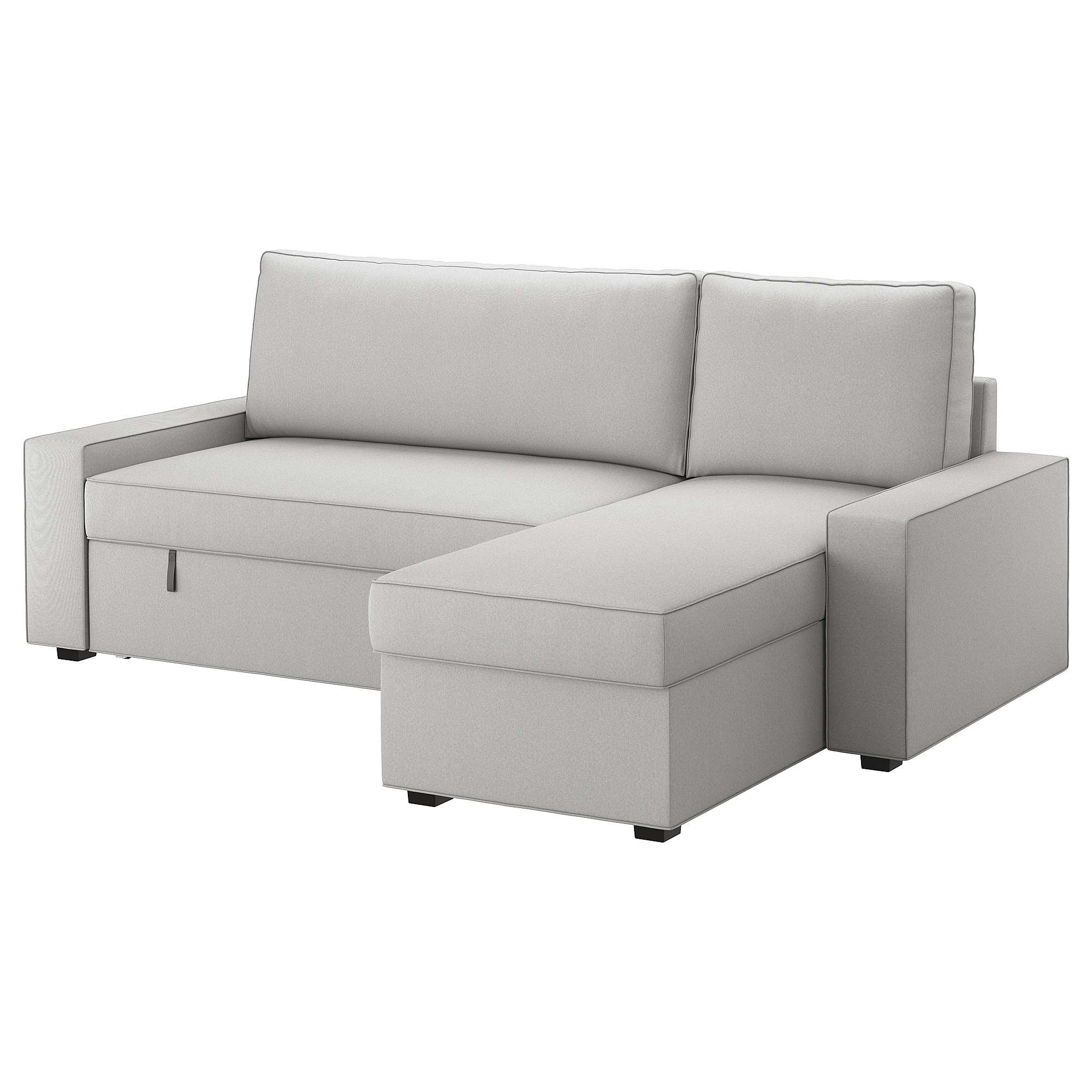 Sofa bed with chaise longue VILASUND Orrsta light grey