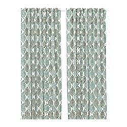 FJÄDERKLINT, Curtains, 1 pair, white/green