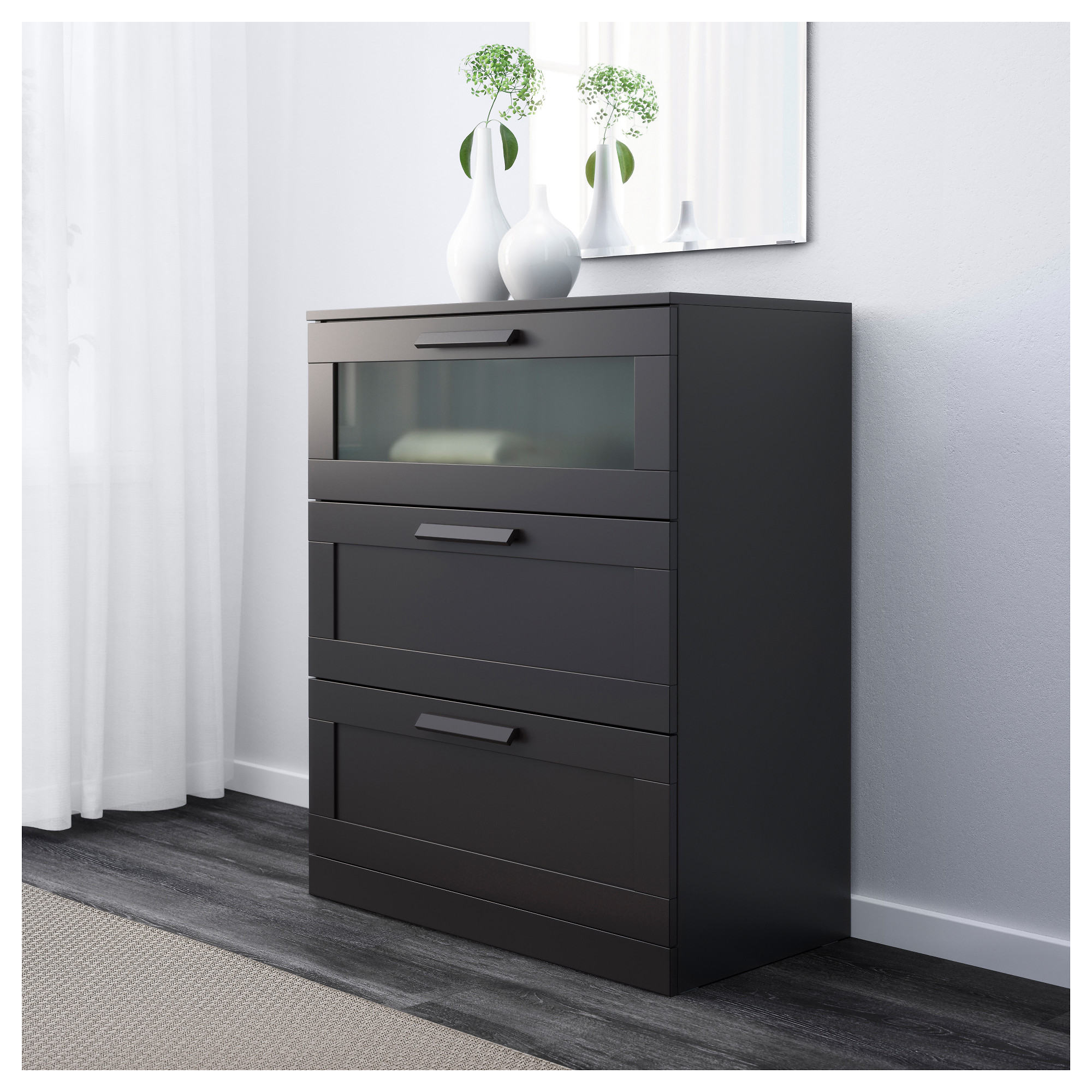 3 drawer dresser black