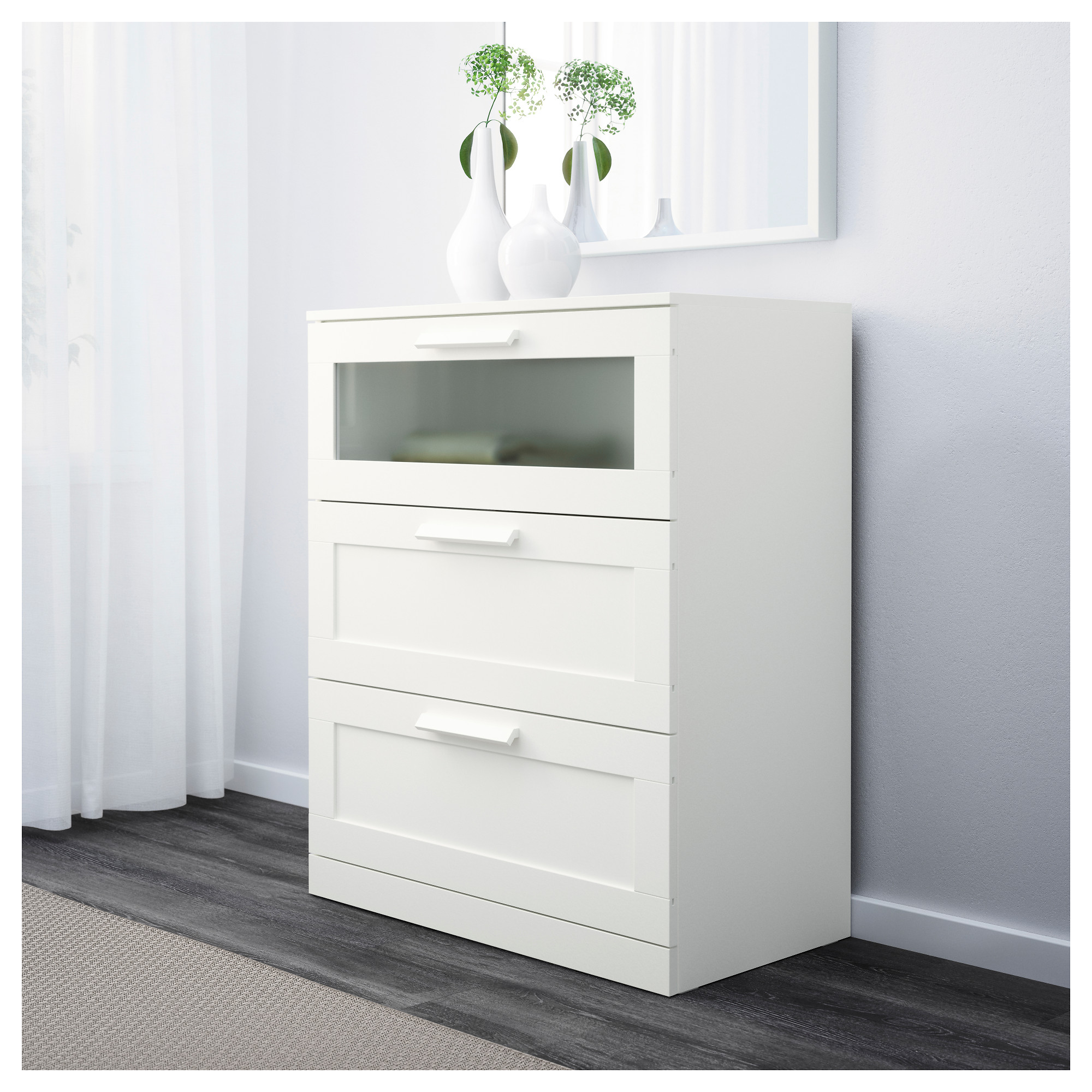 . BRIMNES 3 drawer chest   white frosted glass   IKEA