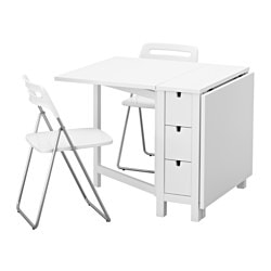 "NORDEN / NISSE table and 2 folding chairs, white Length: 35 "" Min. length: 10 1/4 "" Max. length: 59 7/8 "" Length: 89 cm Min. length: 26 cm Max. length: 152 cm"