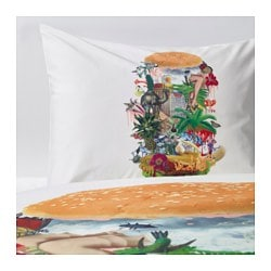 "STUNSIG duvet cover and pillowcase(s), burger Thread count: 204 /inch² Duvet cover length: 86 "" Duvet cover width: 64 "" Thread count: 204 /inch² Duvet cover length: 218 cm Duvet cover width: 162 cm"