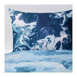 "STUNSIG duvet cover and pillowcase(s), sea foam Thread count: 204 /inch² Duvet cover length: 86 "" Duvet cover width: 64 "" Thread count: 204 /inch² Duvet cover length: 218 cm Duvet cover width: 162 cm"