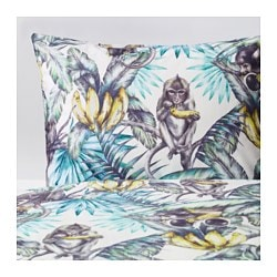 "STUNSIG duvet cover and pillowcase(s), monkey Thread count: 204 /inch² Duvet cover length: 86 "" Duvet cover width: 64 "" Thread count: 204 /inch² Duvet cover length: 218 cm Duvet cover width: 162 cm"