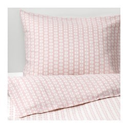 FJÄLLVEDEL quilt cover and 2 pillowcases, pink
