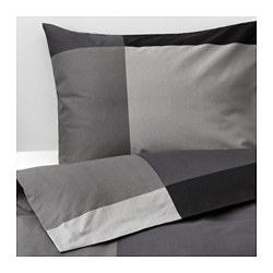 BRUNKRISSLA quilt cover and 4 pillowcases, black