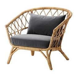 STOCKHOLM 2017 chair with cushion, rattan, Sandbacka dark gray