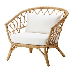 STOCKHOLM 2017 armchair with cushion, rattan, Röstånga white Width: 81 cm Height: 79 cm Seat depth: 76 cm
