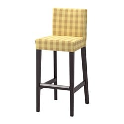 HENRIKSDAL bar stool with backrest, brown-black, Skaftarp yellow