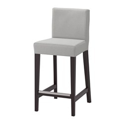HENRIKSDAL bar stool with backrest, brown-black, Orrsta light gray