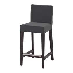 HENRIKSDAL bar stool with backrest, brown-black, Djuparp dark gray