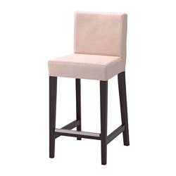 HENRIKSDAL bar stool with backrest, brown-black, Gunnared pale pink