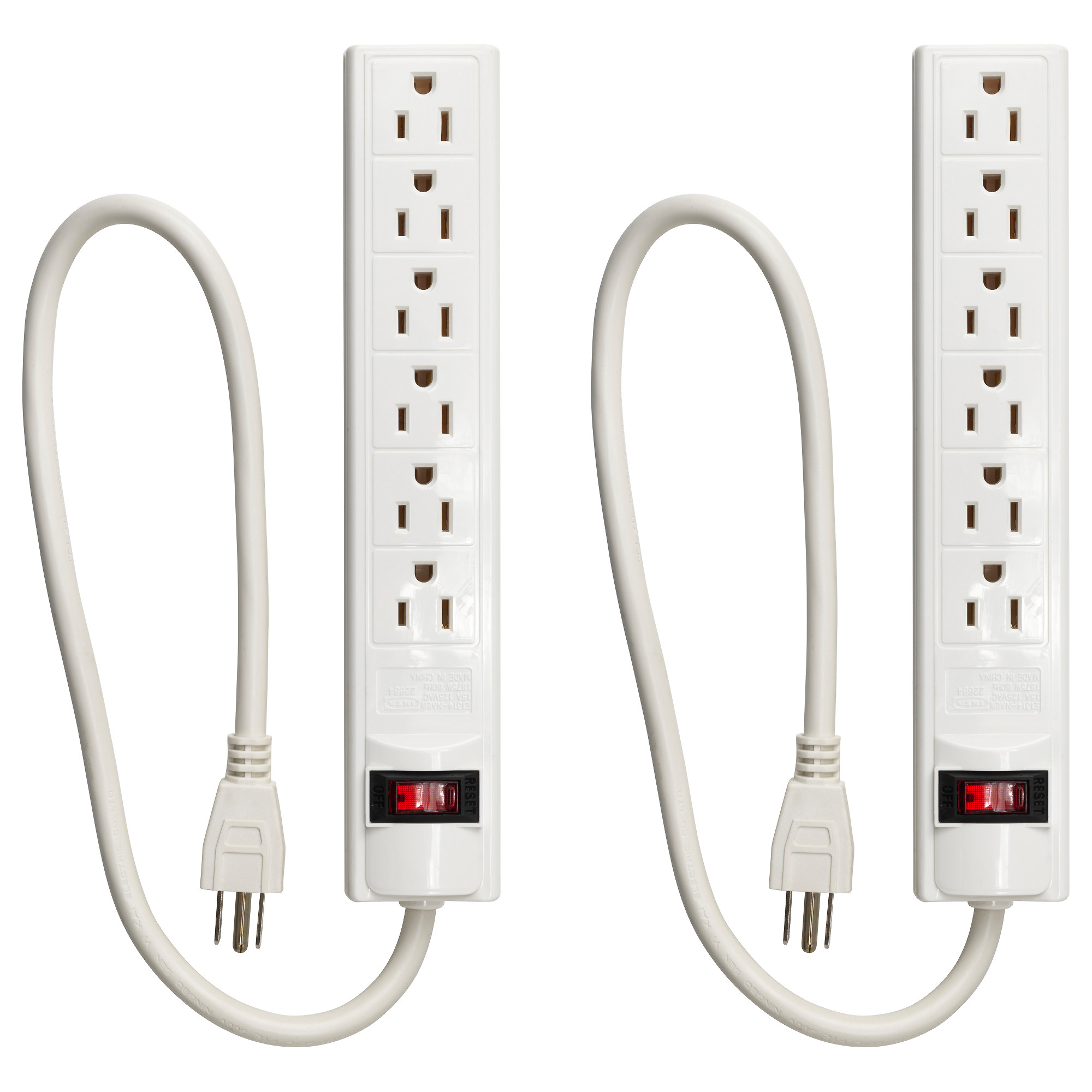 KOPPLA 6 Outlet Power Strip With Switch, Grounded White Cord Length: 19 ¾