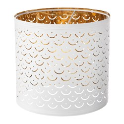 NYMÖ lamp shade, white, brass color