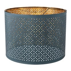 NYMÖ lamp shade, blue, brass-colour