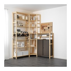 IVAR / SKÅDIS 3 section shelving unit w/cabinets