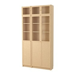 BILLY / OXBERG bookcase, birch veneer, glass