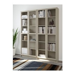 billy oxberg bookcase brownash veneer glass ikea