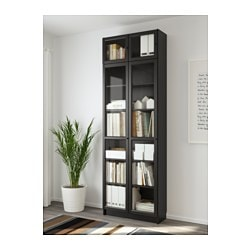 billy oxberg bookcase black brown 31 1 2x79 1 2x11 3 4 ikea. Black Bedroom Furniture Sets. Home Design Ideas