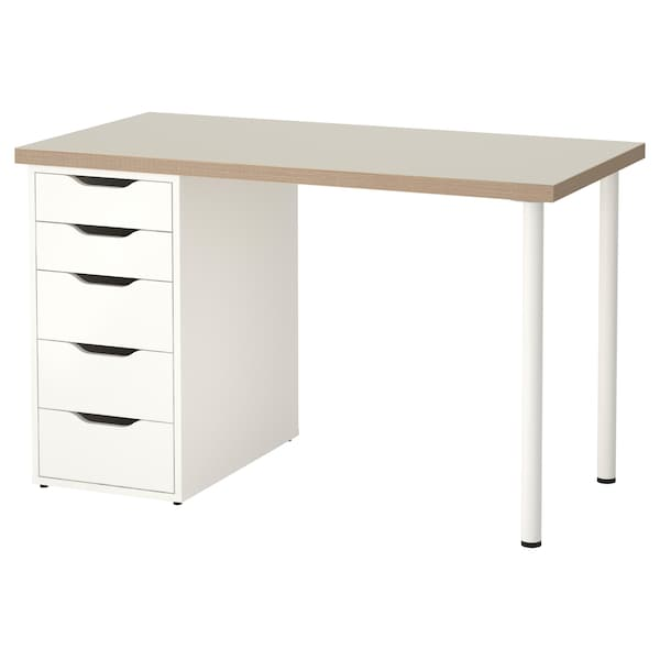 Bureau Ikea Blanc Alex.Table Linnmon Alex Beige Blanc