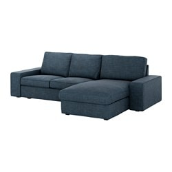KIVIK two-seat sofa and chaise longue, Hillared dark blue Max. width: 280 cm Min. depth: 95 cm Max. depth: 163 cm