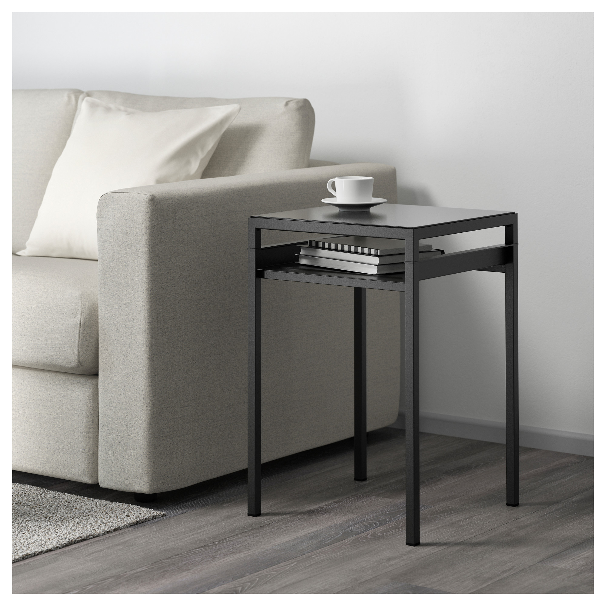 NYBODA Side Table W Reversible Table Top   White/gray   IKEA