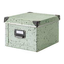 "FJÄLLA box with lid, light green, spotted Depth including handle: 10 ¾ "" Width: 8 ¾ "" Depth: 10 ¼ "" Depth including handle: 27 cm Width: 22 cm Depth: 26 cm"