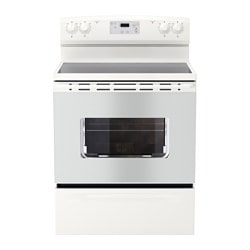 "LAGAN range with ceramic cooktop, white Width: 29 7/8 "" Depth: 27 1/2 "" Height: 46 7/8 "" Width: 75.8 cm Depth: 69.9 cm Height: 119.1 cm"