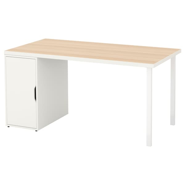 Linnmon Alex Table White White Stained Oak Effect White Ikea