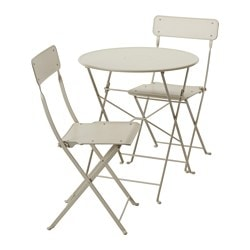 SALTHOLMEN, Table and 2 folding chairs, outdoor, beige