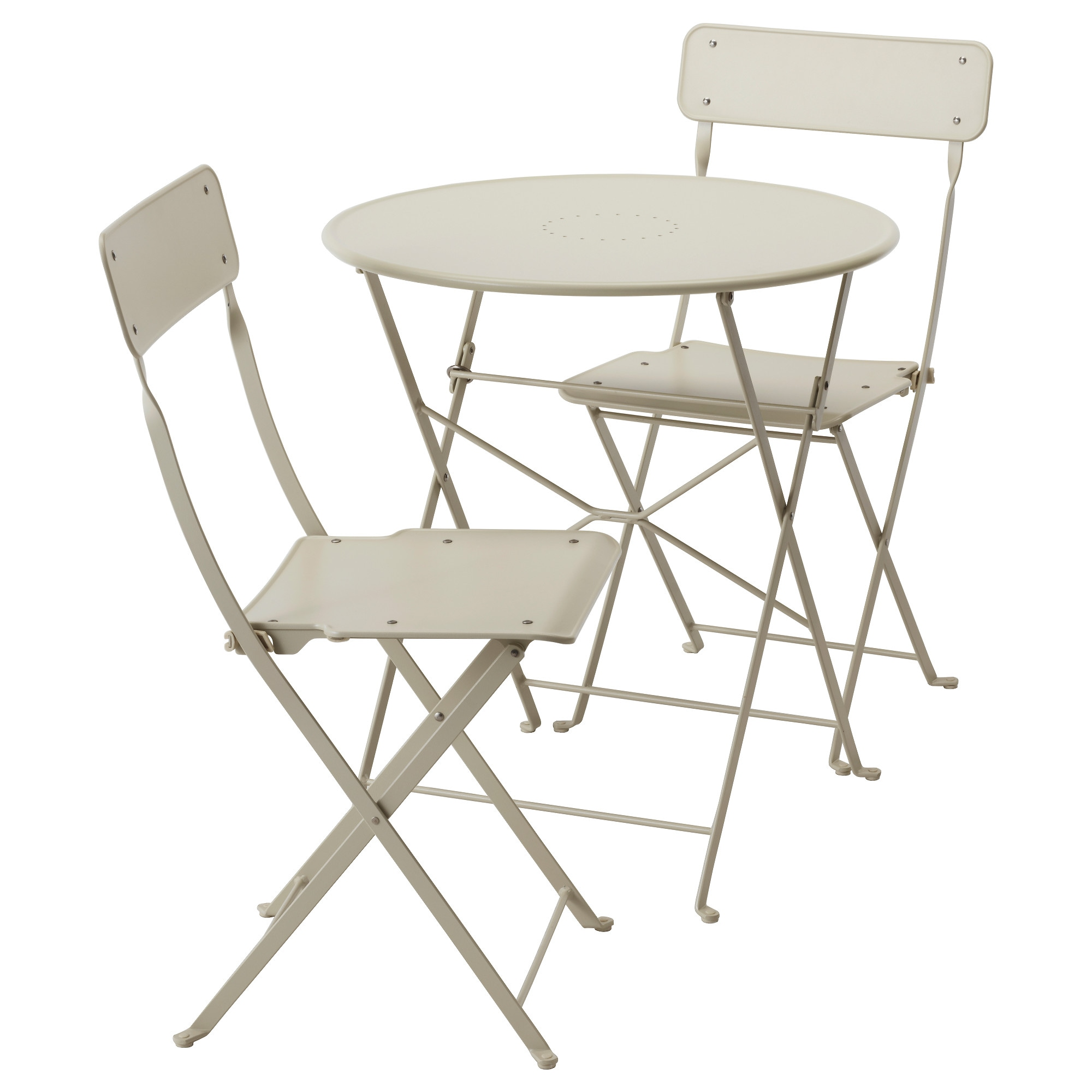 Outdoor table and chairs - Saltholmen Table And 2 Folding Chairs Outdoor Beige