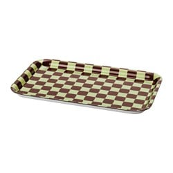 YPPERLIG tray, dark red, light green