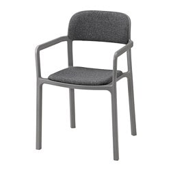 YPPERLIG, Chair with armrests, Gunnared dark grey
