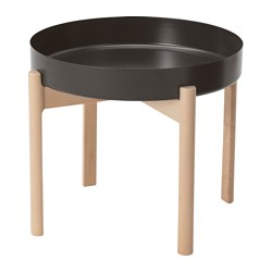 YPPERLIG coffee table, dark grey, birch Height: 40 cm Diameter: 50 cm