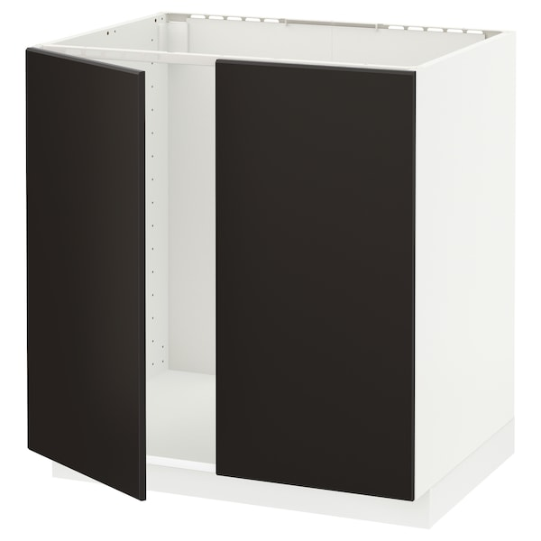 Metod Base Cabinet For Sink 2 Doors White Kungsbacka Anthracite
