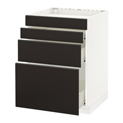 METOD /  FÖRVARA base cab f hob/4 fronts/3 drawers, white, Kungsbacka anthracite Width: 60.0 cm Depth: 61.6 cm Height: 88.0 cm