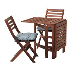 ÄPPLARÖ, Table and 2 folding chairs, outdoor, brown stained, Ytterön blue