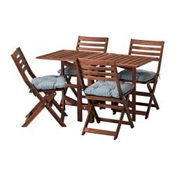 ÄPPLARÖ, Table and 4 folding chairs, outdoor, brown stained, Ytterön blue