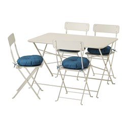 SALTHOLMEN table and 4 folding chairs, outdoor, beige, Ytterön blue
