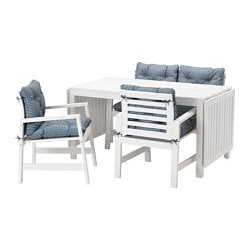 ÄPPLARÖ table, 2 armchairs + bench, outdoor, white, Ytterön blue