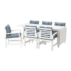 ÄPPLARÖ table+6 armchairs, outdoor, white, Ytterön blue