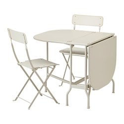 SALTHOLMEN table and 2 folding chairs, outdoor, beige