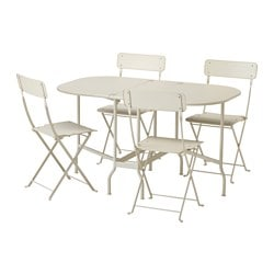 SALTHOLMEN table and 4 folding chairs, outdoor, beige