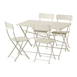 SALTHOLMEN table+4 folding chairs, outdoor, beige