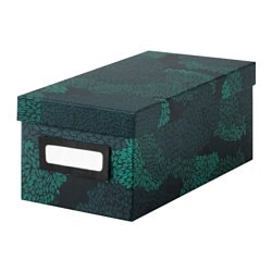 "TJENA box with lid, black-blue Width: 5 "" Depth: 10 ¼ "" Height: 4 "" Width: 13 cm Depth: 26 cm Height: 10 cm"